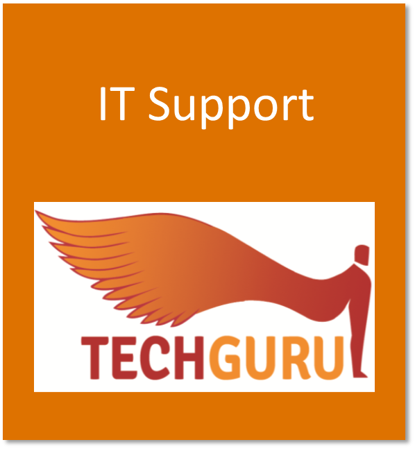 IT support button containing the TechGuru logo