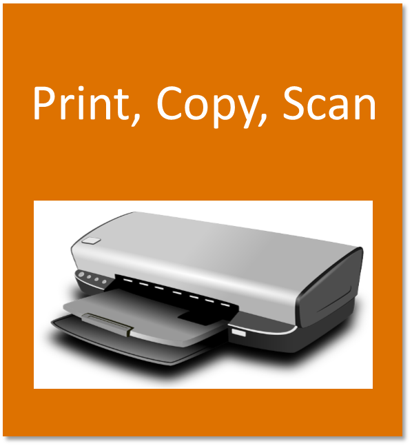 Print, copy, scan button containing a printer