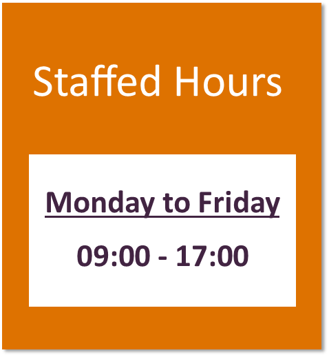 Staffed hours button containing library staffing hours