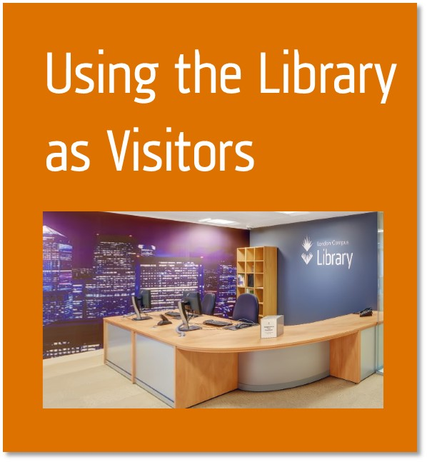 Using the library as visitors button containing the library front desk