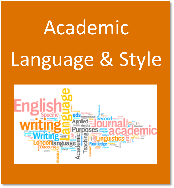Academic language and style button containing word cloud with terms related to language and research