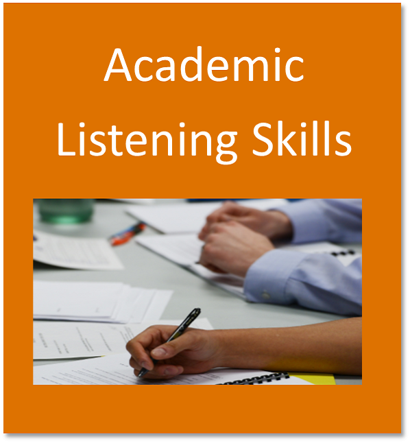 Academic listening skills button containing students taking notes