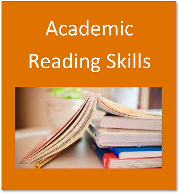 Academic reading skills button containing books stacked on top of each other