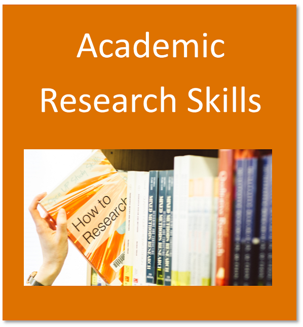 Academic research skills button containing books on library shelves