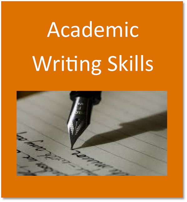 Academic writing skills button containing a pen on paper with written text