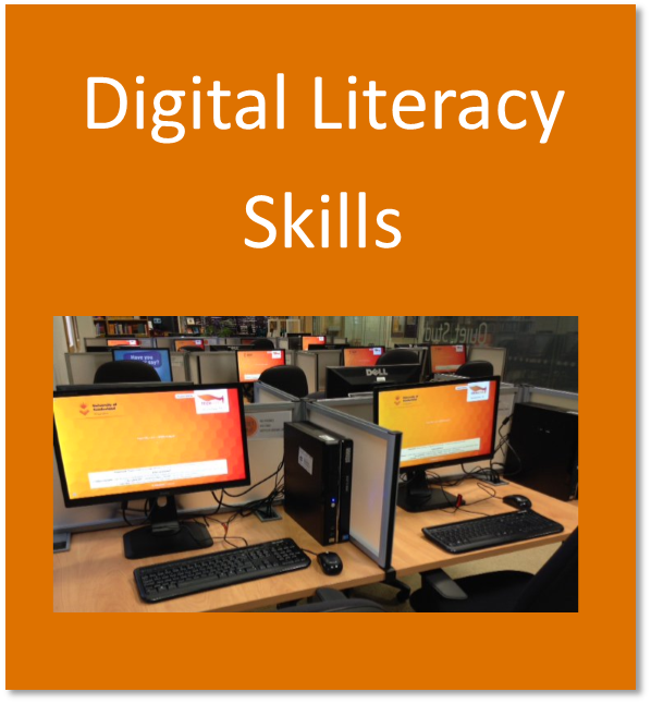 Digital literacy skills button containing computers in the library
