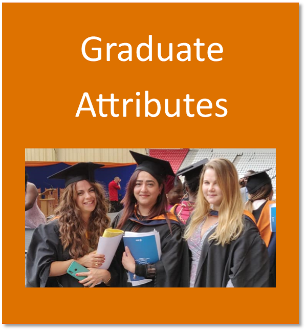 Graduate attributes button containing happy students on graduation day
