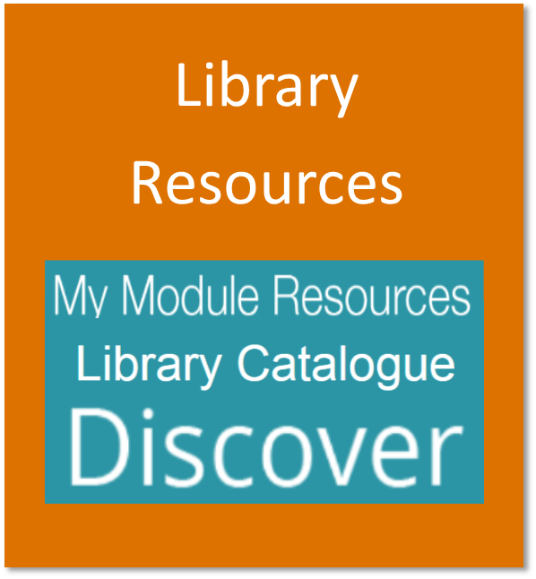 Library resources button containing the logos of My Module Resources, the Library Catalogue, and Discover