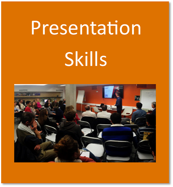 Presentation skills button containing a student delivering a presentation in a lecture theatre