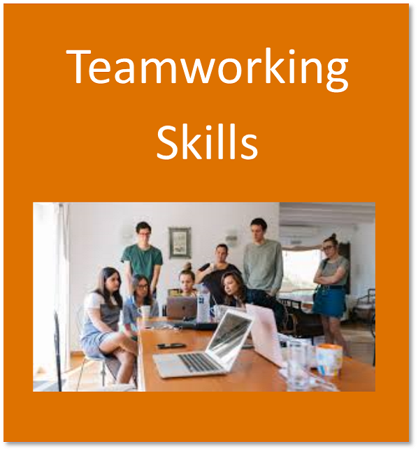 Teamworking skills button containing students working together as a group around computers